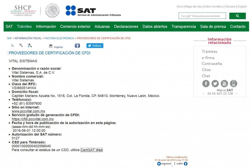 Publicación en Portal del SAT